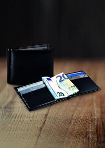 RFID Kartenetui für bis zu 6 Karten mit Clip für Geldscheine in schwarzem Lammleder