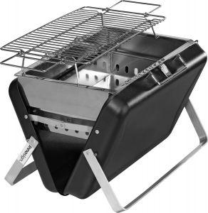 Holzkohle-Koffergrill mit einklappbaren Kufen aus Edelstahl