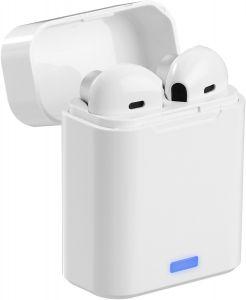 Weisse, kabellose In-Ear-Kopfhörer 5.0 Bluetooth in kleiner Ladebox