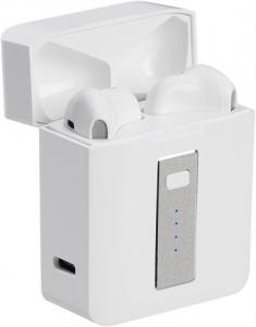 Leistungsstarke weisse, kabellose In-Ear-Kopfhörer 5.0 Bluetooth in kleiner Ladebox