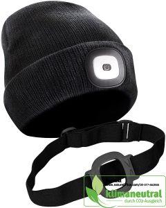 Unisex Strickmütze schwarz mit herausnehmbarem, wiederaufladbarem Frontlicht und dazugehörigem Stirnband