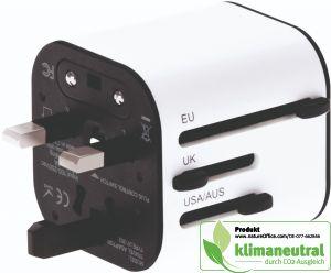 Reiseadapter mit Smart Charge-Ladetechnik und Zubehörtasche