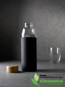 Umweltfreundliche Trinkflasche mit Silikonhülle und Bambusverschluß 500ml