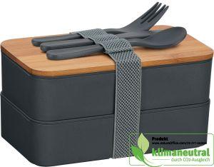 Umweltfreundliche Doppel-Lunchbox mit Bambusdeckel und Besteck