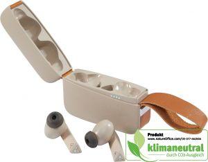 In-Ear-Kopfhörer 5.0 Bluetooth in formschöner Ladebox mit Lederschlaufe