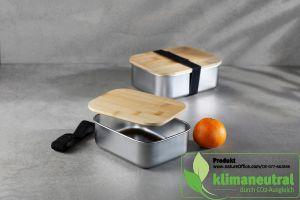 Ökologische Edelstahl-Lunchbox small mit Bambusdeckel und elastischem Halteband