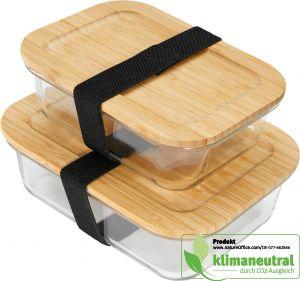 Umweltfreundliche Aufbewahrungsbox small aus hitzebeständigem Borosilikatglas mit naturbelassenem Bambusdeckel