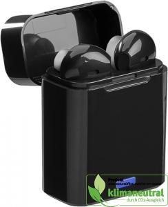 Schwarze, kabellose In-Ear-Kopfhörer 5.0 Bluetooth in kleiner Ladebox